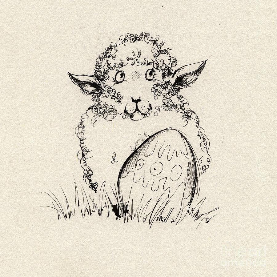 Sheep Drawing - Baa Baa by Angel Ciesniarska