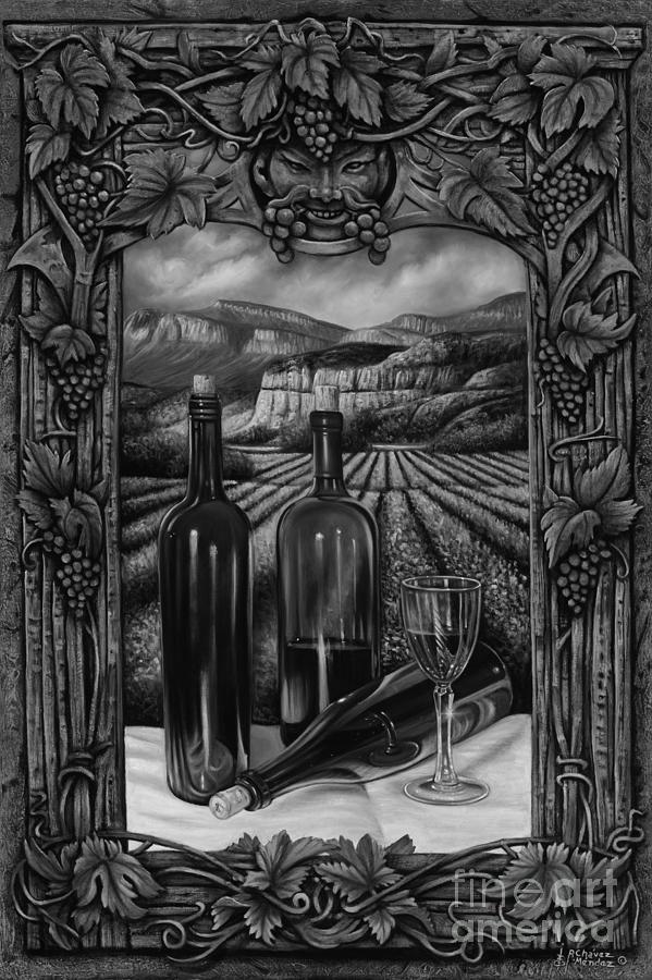 Wine Painting - Bacchus Vineyard by Ricardo Chavez-Mendez