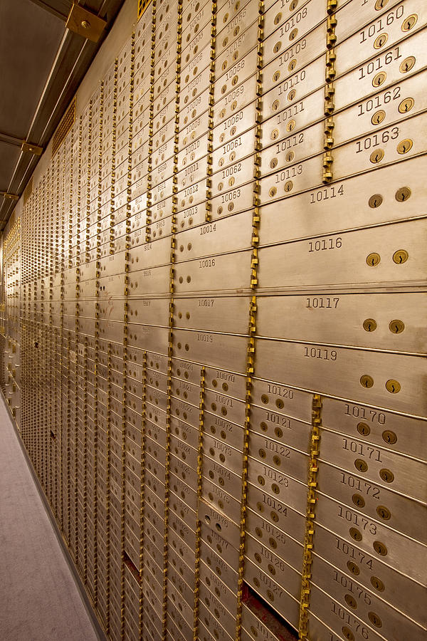 Bank Photograph - Bank Safe Deposit Boxes by David Gn