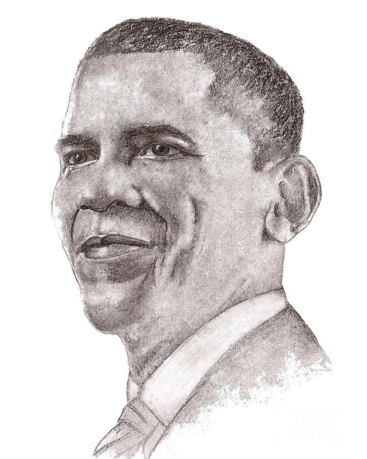 Barack Drawing - Barack Obama by Nan Wright