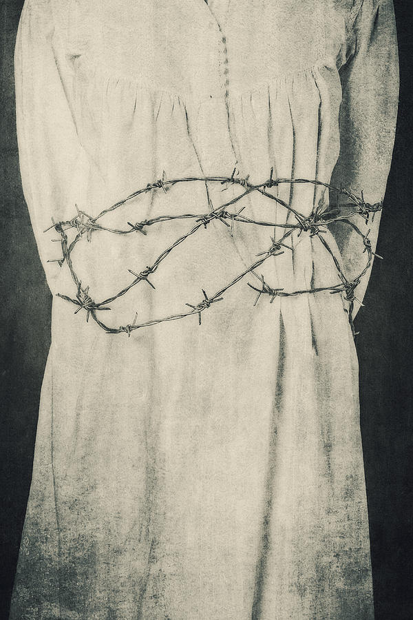 Girl Photograph - Barbed Wire by Joana Kruse