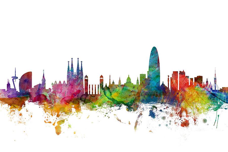 Barcelona Digital Art - Barcelona Spain Skyline by Michael Tompsett