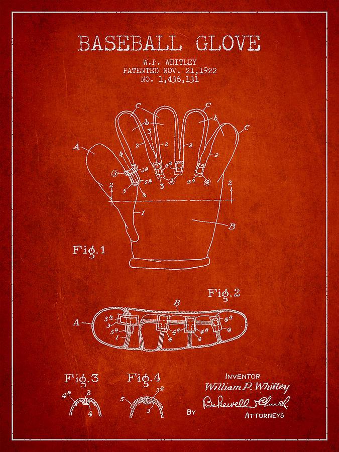 Baseball Glove Digital Art - Baseball Glove Patent Drawing From 1922 by Aged Pixel