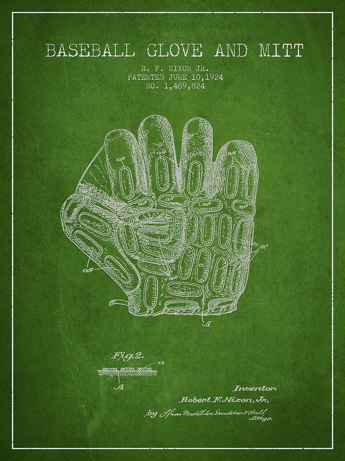 Baseball Glove Patent Drawing From 1924 Digital Art