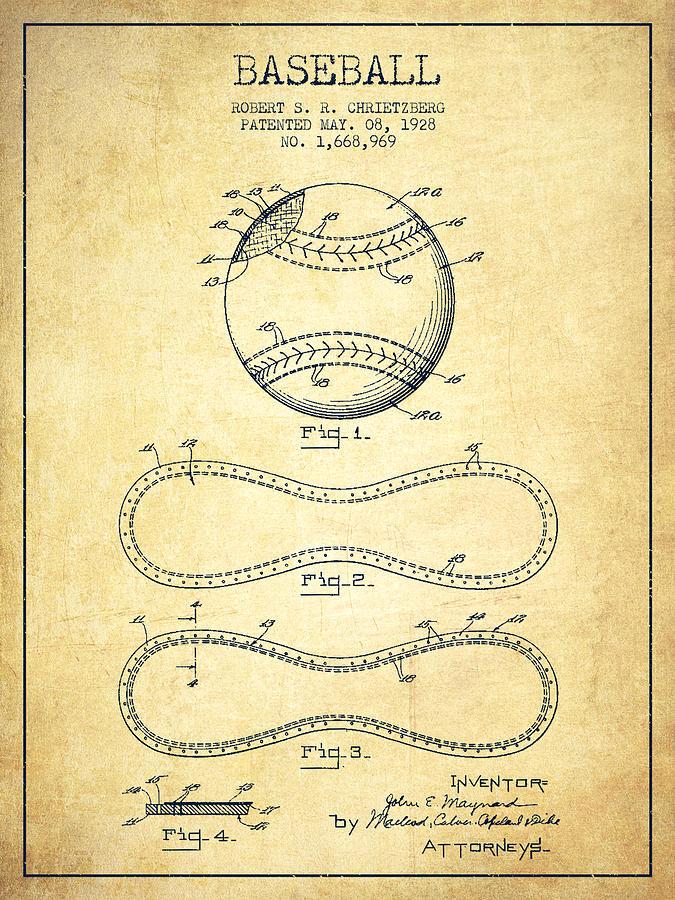 Baseball Patent Drawing From 1928 Digital Art