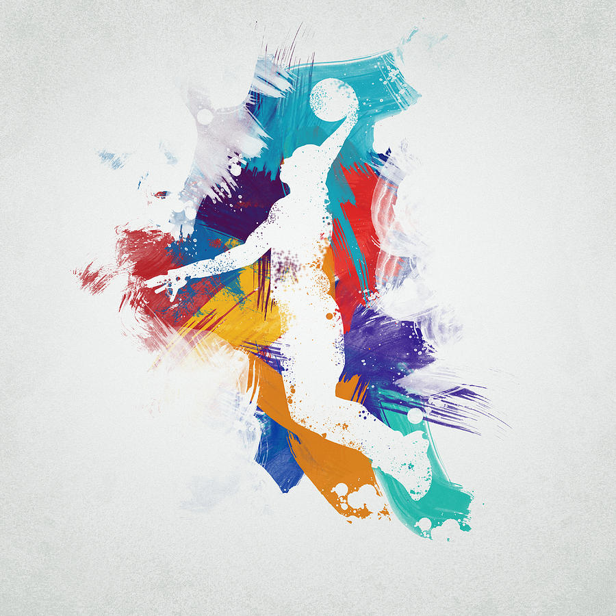 Abstract Digital Art - Basketball Player by Aged Pixel