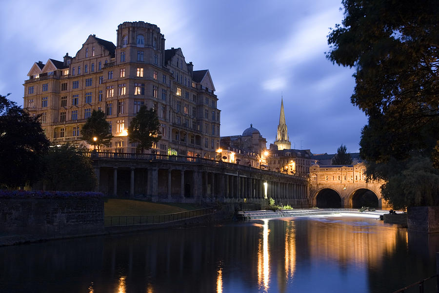 Bath Photograph - Bath City Spa Viewed Over The River Avon At Night by Mal Bray