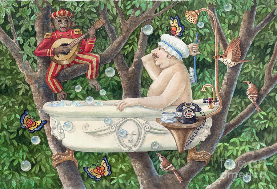 Watercolor Paintings Painting - Bath Tub Serenade by Ann Gates Fiser