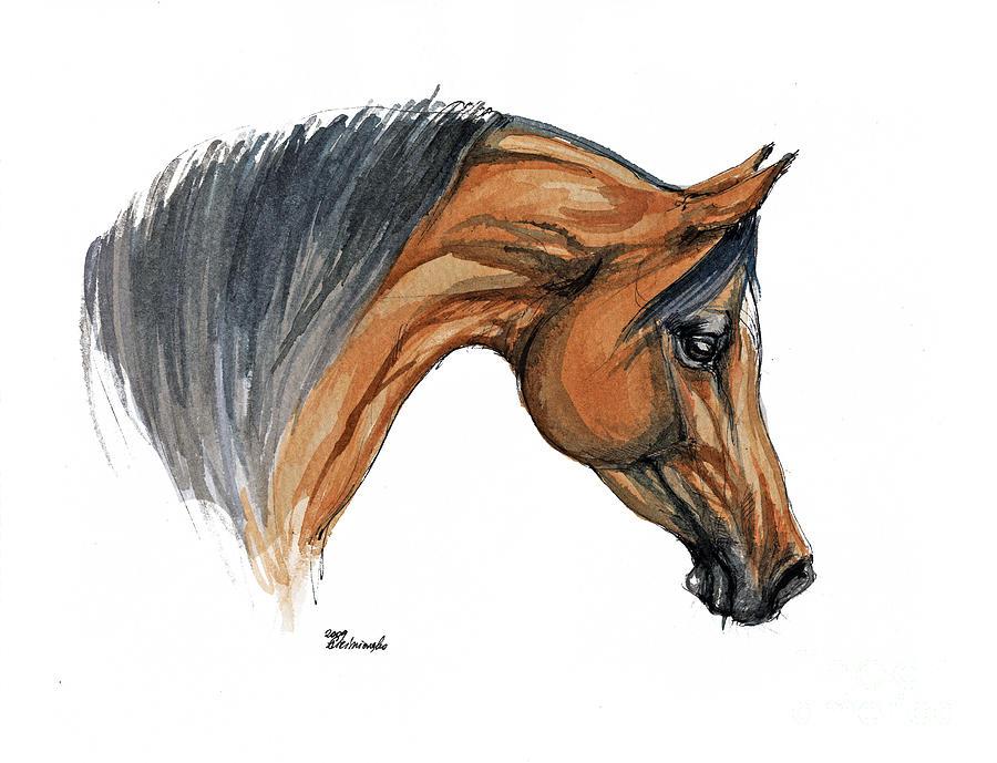 Horse Painting - Bay Arabian Horse Watercolor Painting  by Angel  Tarantella