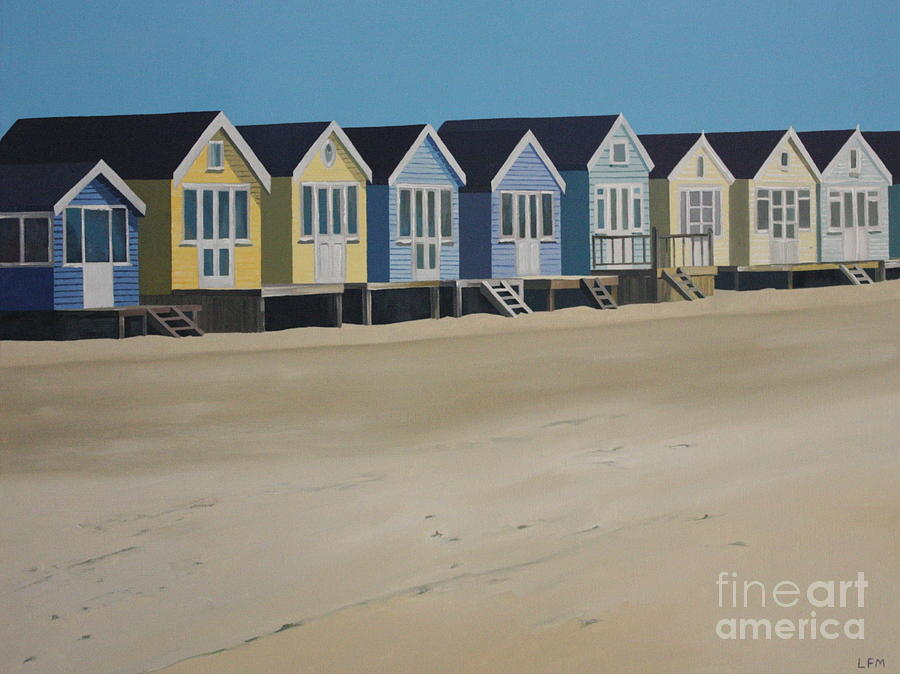 Beach Hut Painting - Beach Huts By The Seaside by Linda Monk