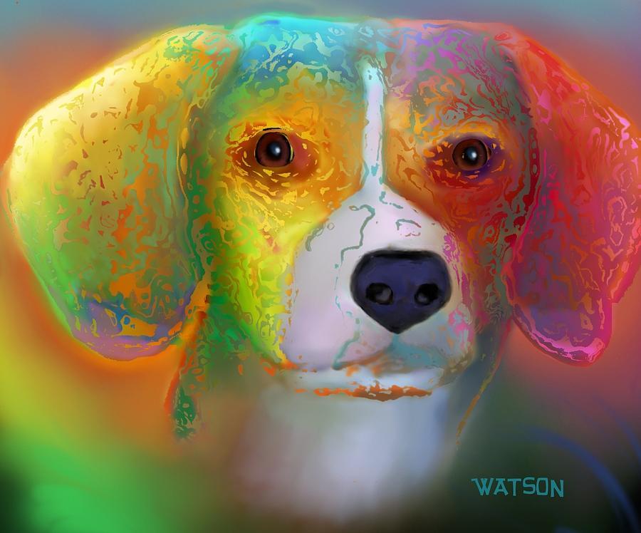 Red Background Digital Art - Beagle by Marlene Watson