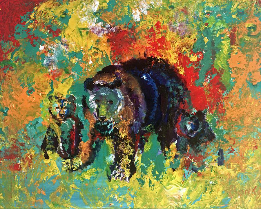 Bears Painting - Bear Family by Peter Bonk
