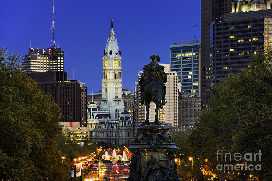George Washington Photograph - Ben Franklin Parkway And City Hall by John Greim