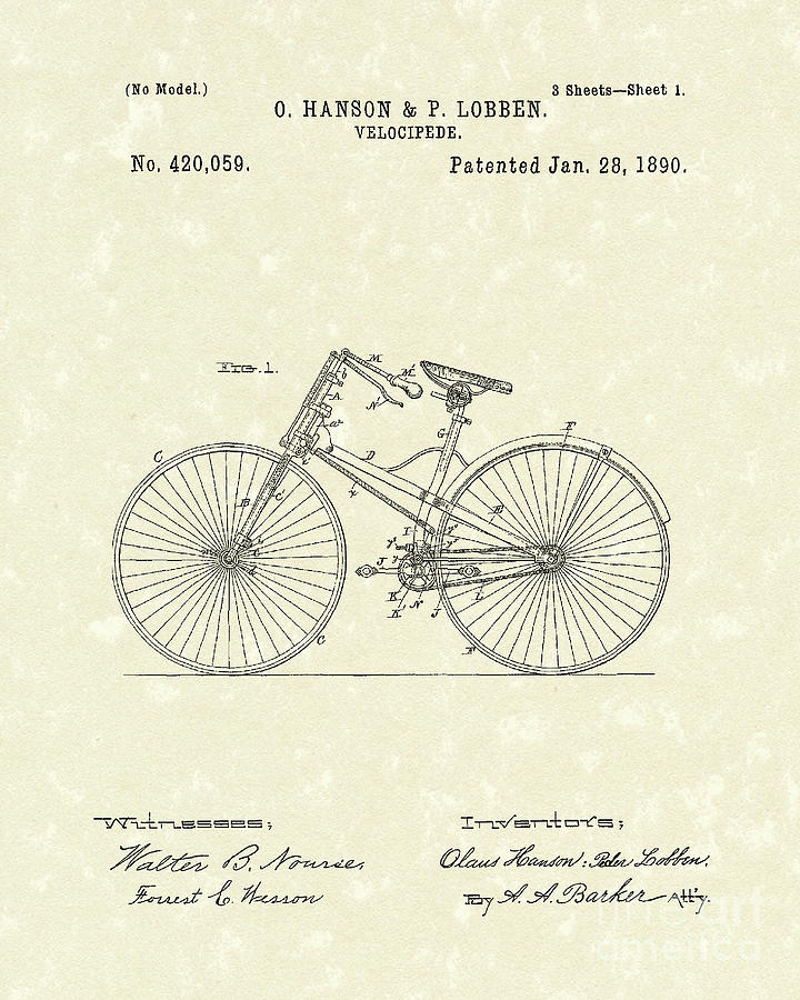Hanson Drawing - Bicycle 1890 Patent Art by Prior Art Design