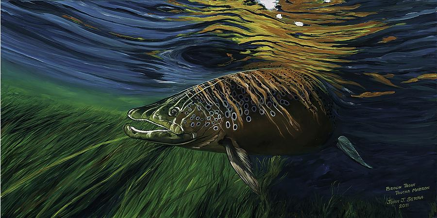 Trout Painting - Big Brown Trout by Juan Jose Serra