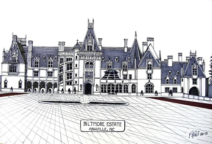 Pen And Ink Drawing Drawing - Biltmore Estate by Frederic Kohli