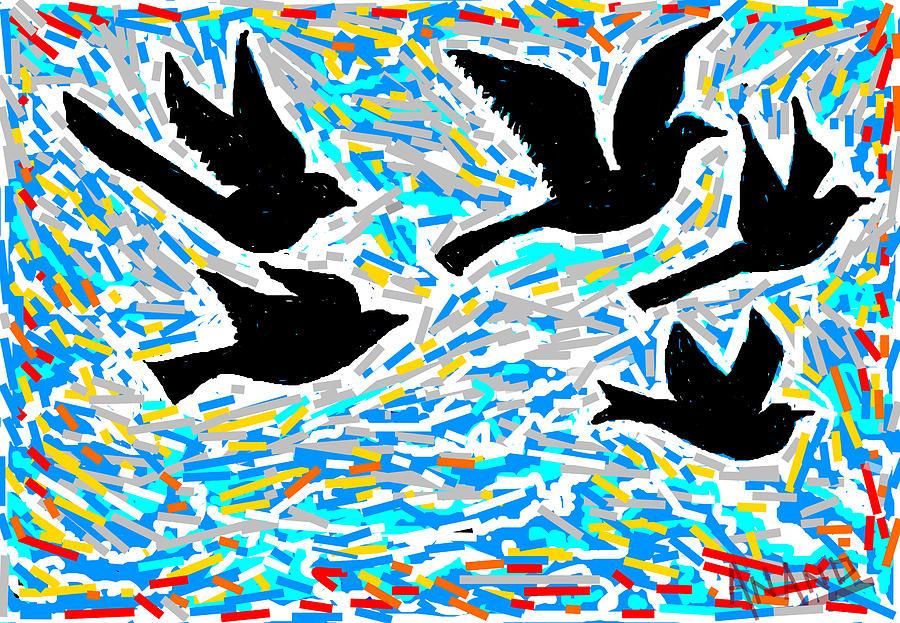Birds In Flight Digital Art - Birds In Flight by Anand Swaroop Manchiraju