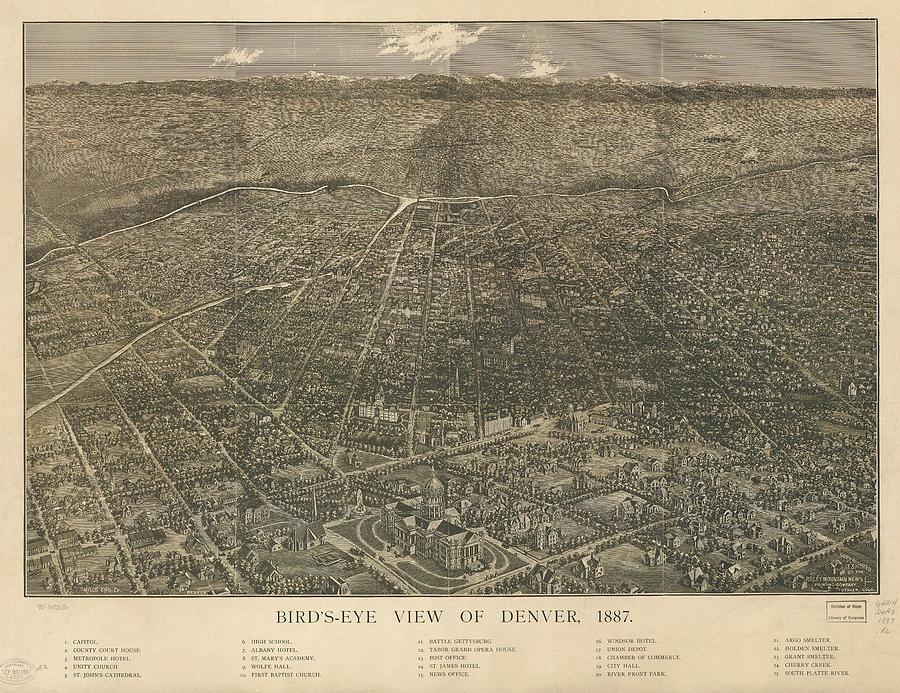 Birdseye Map Of Denver Colorado - 1887 Drawing
