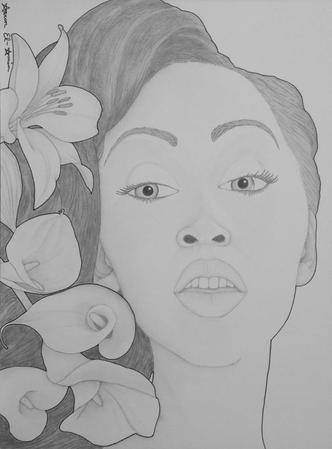 Girl Drawing - Blooming Girl Lily 2  by Aaron El-Amin