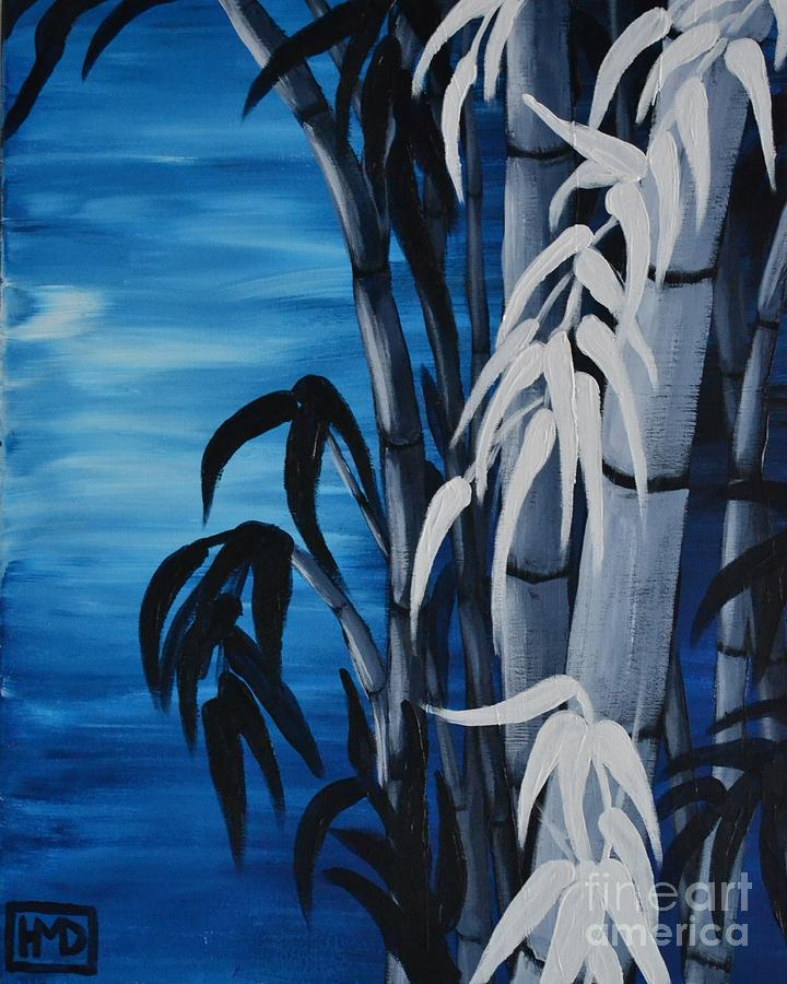 Bamboo Painting - Blue Bamboo by Holly Donohoe