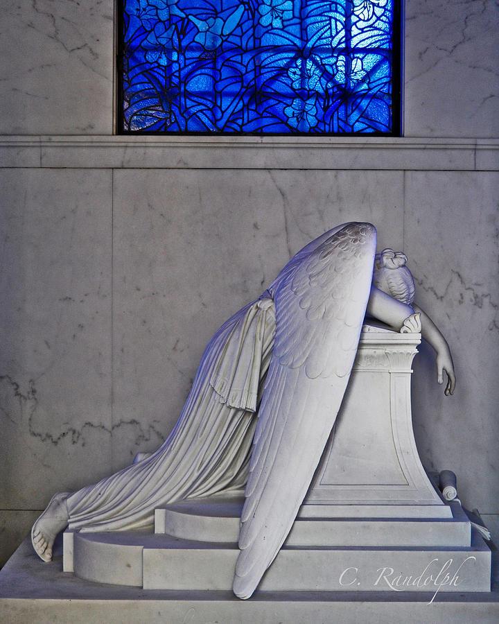Weeping Angel Photograph - Blue by Cheri Randolph