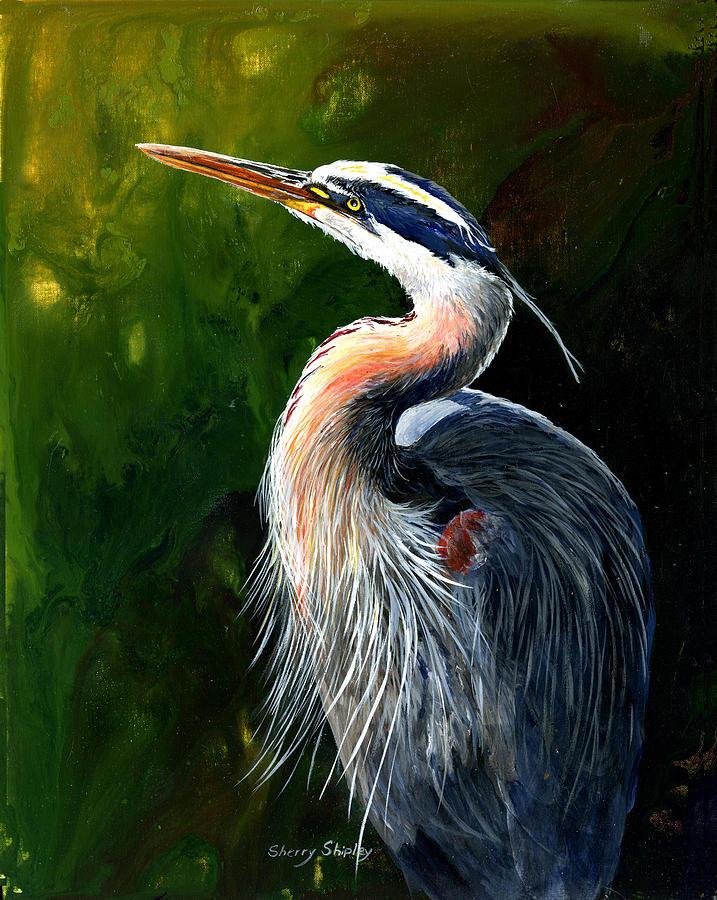 Bird Painting - Blue Heron  by Sherry Shipley
