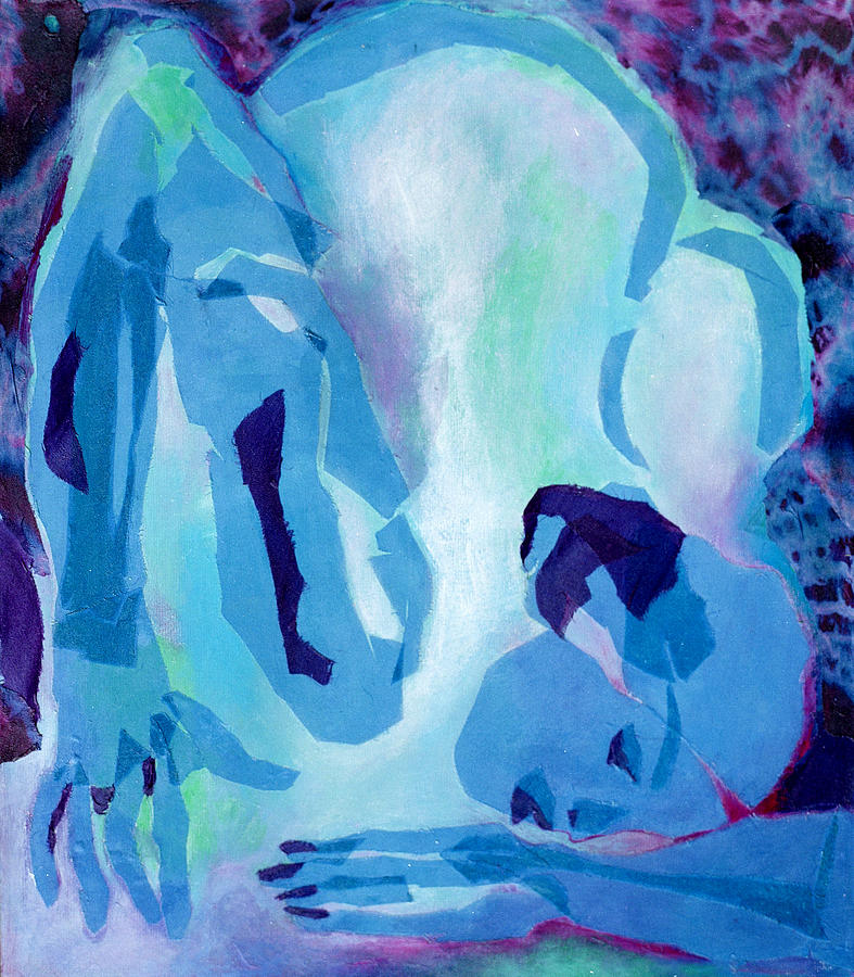 Nude Mixed Media - Blue Nude by Diane Fine