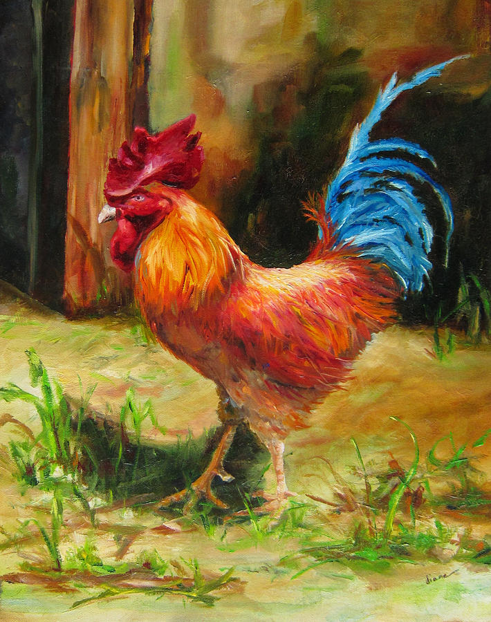 Bird Painting - Blue-tailed Rooster by Diane Kraudelt