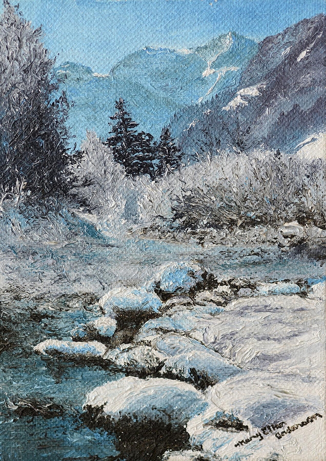 Landmark Painting - Blue Winter by Mary Ellen Anderson