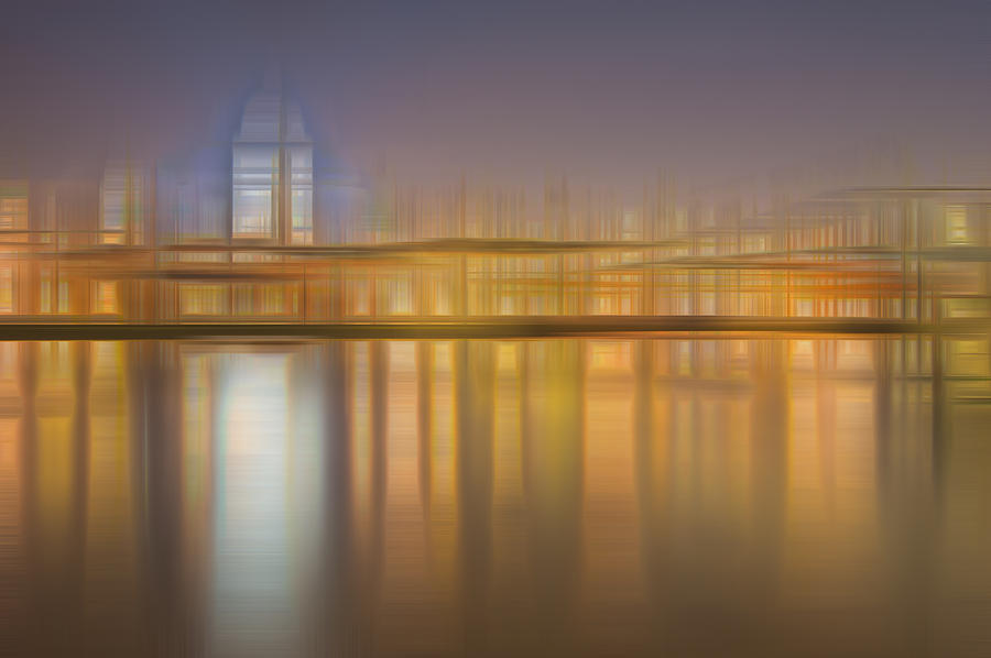 Abstract Photograph - Blurred Abstract City Skyline Colorful Background by Matthew Gibson