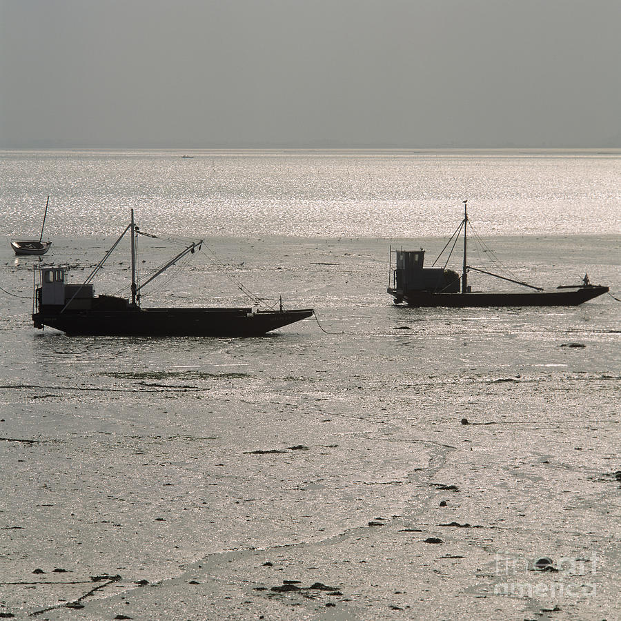 Boats In The Sea.  Normandy. France. Europe Photograph by Bernard Jaubert