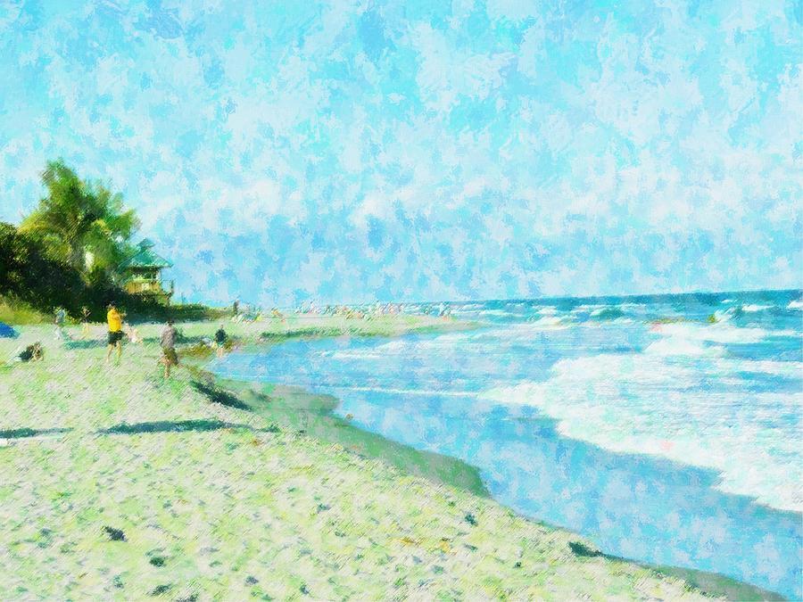 Abstract Mixed Media - Boca Beach Play by Florene Welebny