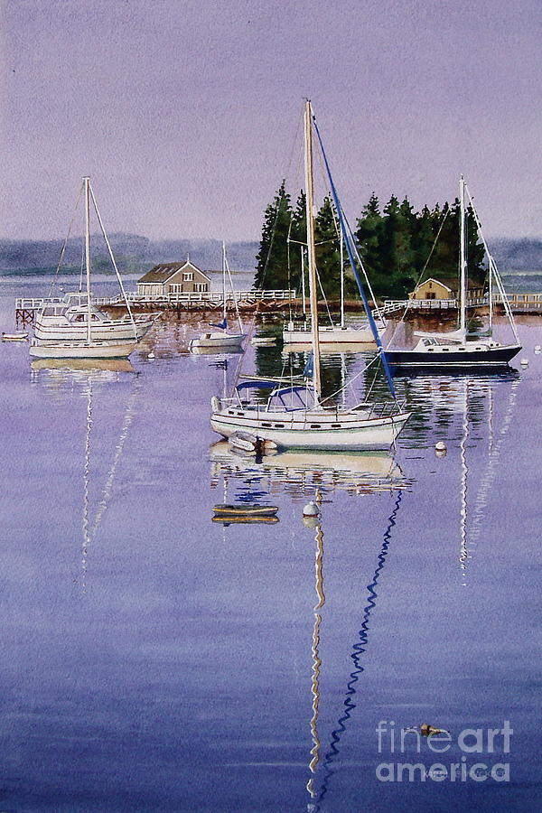 Water Painting - Boothbay Harbor by Karol Wyckoff