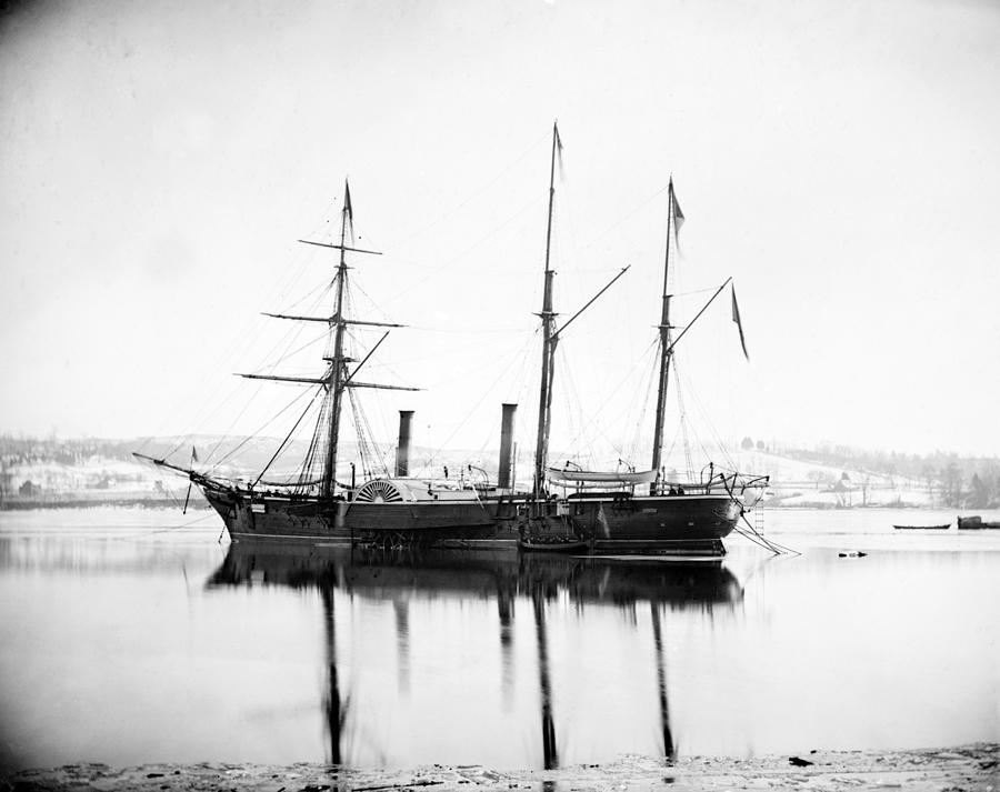 1863 Photograph - Brazilian Steamship, 1863 by Granger