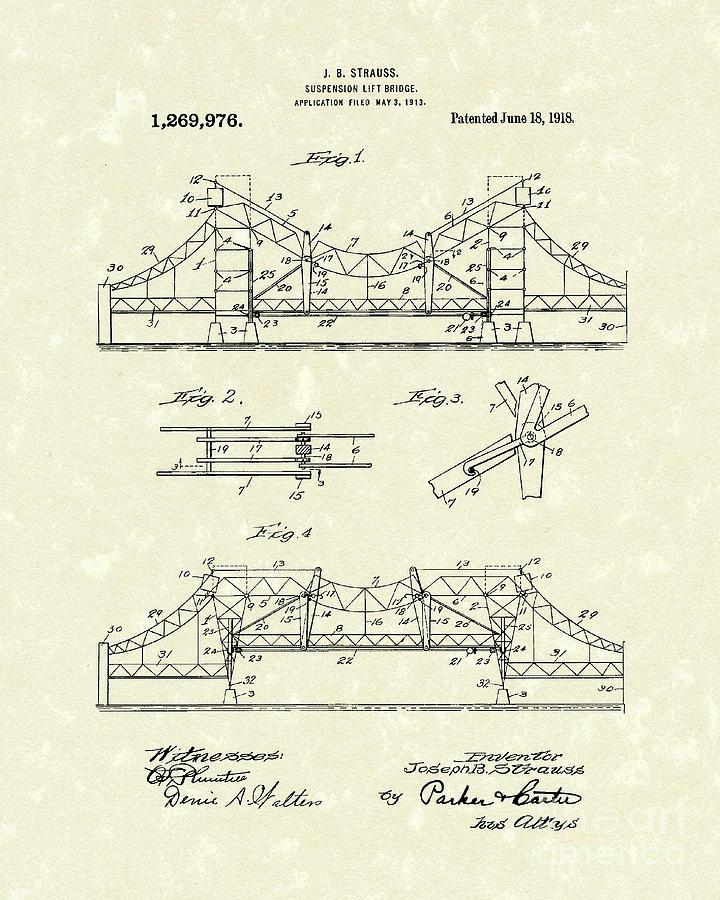Strauss Drawing - Bridge 1918 Patent Art by Prior Art Design
