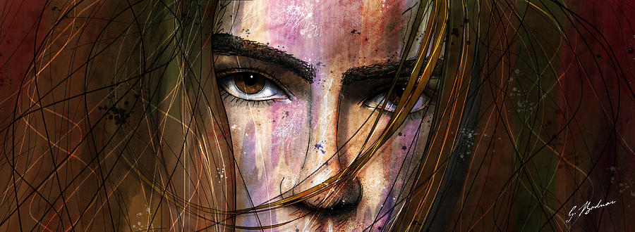 Face Sketch Drawing - Brown Iris Entangled by Gary Bodnar
