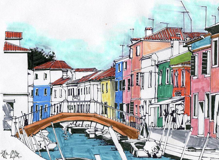 Line Drawing Venice : Burano venice italy drawing by paul guyer