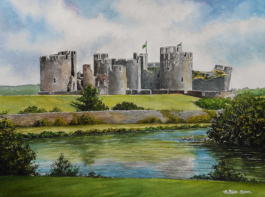 Caerphilly Castle Painting - Caerphilly Castle  by Andrew Read