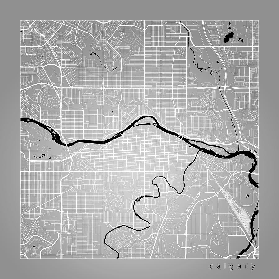 Calgary Street Map Calgary Canada Road Map Art On Color Digital