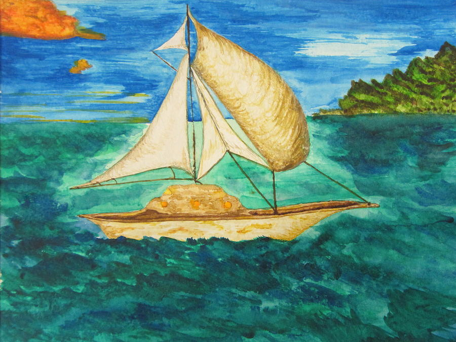 Sailboat Painting - Camouflage Sailboat by Debbie Nester