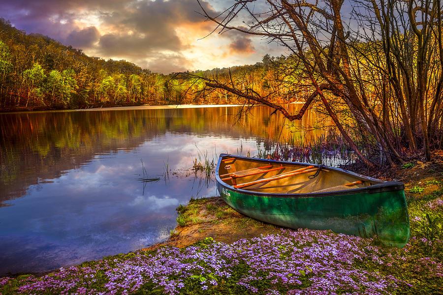 Appalachia Photograph - Canoe At The Lake by Debra and Dave Vanderlaan