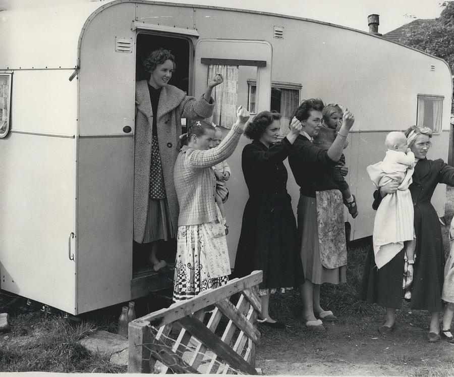Retro Photograph - Caravan Site Eviction Force Withdraws by Retro Images Archive