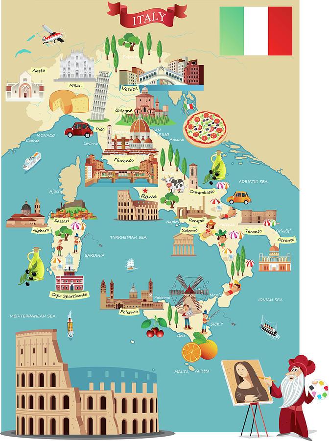 Cartoon Map Of Italy Digital Art by Drmakkoy