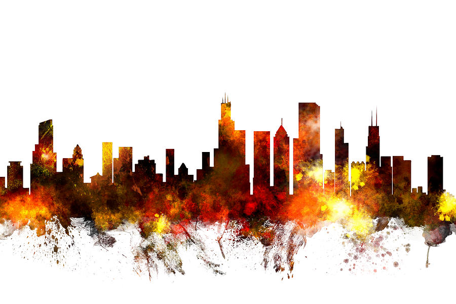 Chicago Digital Art - Chicago Illinois Skyline by Michael Tompsett