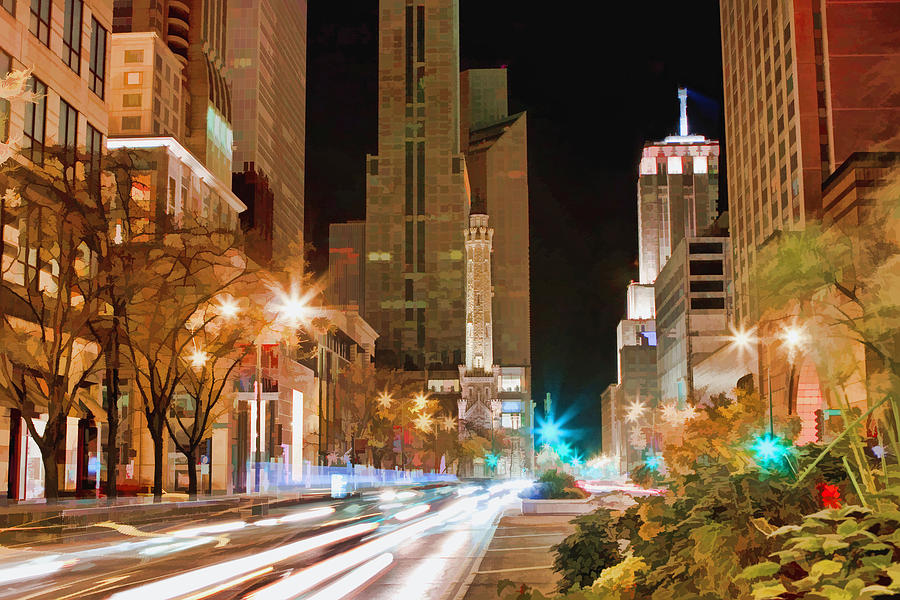 Chicago Painting - Chicago Michigan Avenue Light Streak by Christopher Arndt