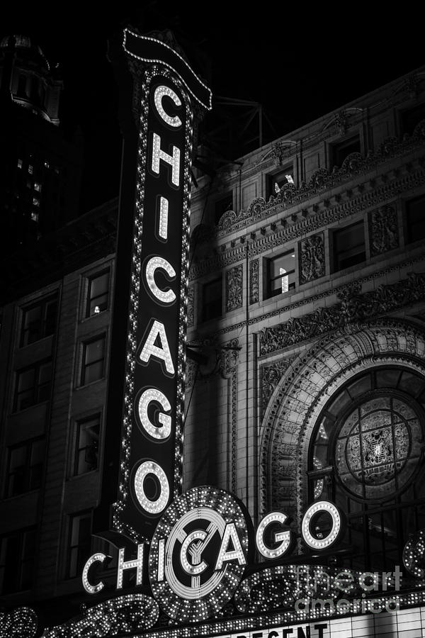 America Photograph - Chicago Theatre Sign In Black And White by Paul Velgos