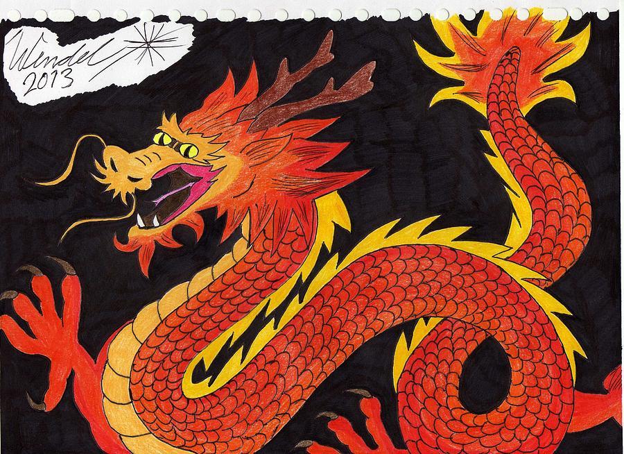 Chinese Dragon Drawing by Wendel Krolis