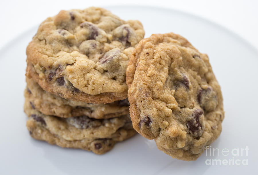 Food Photograph - Chocolate Chip Cookies by Edward Fielding