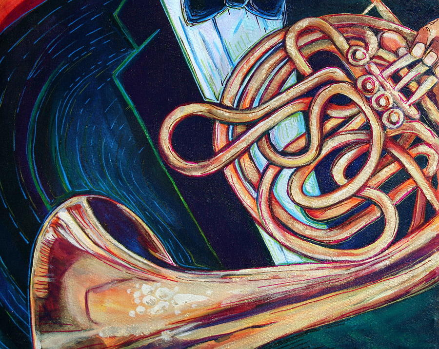 French Horn Painting - Chords Of Green by Kate Fortin