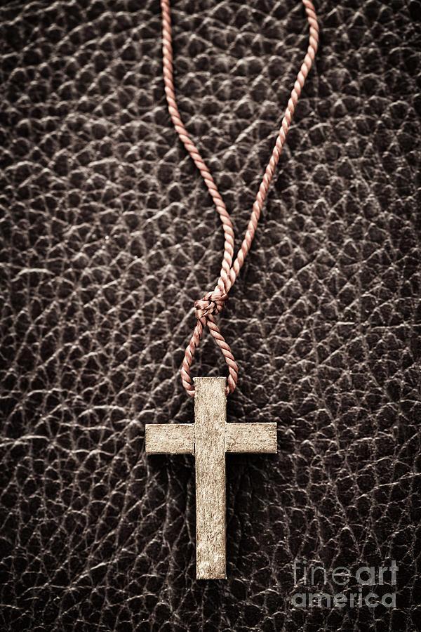 Cross Photograph - Christian Cross On Bible by Elena Elisseeva